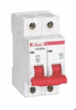 کلید مینیاتوری Himel تیپ C دو پل سری HDB6S با جریان های 1/2/4/6/10/16/20/25/32/40/50/63A