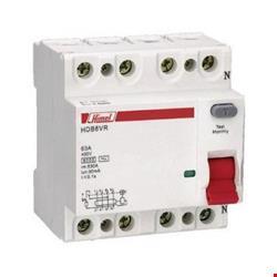 کلید نشتی جریان چهار پل (30mA(AC مدل HDB6VR با جریان 10/16/25/32/40/63/80/100A